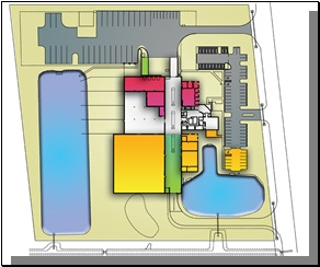 A proposed process plant schematic showing initial and future phases